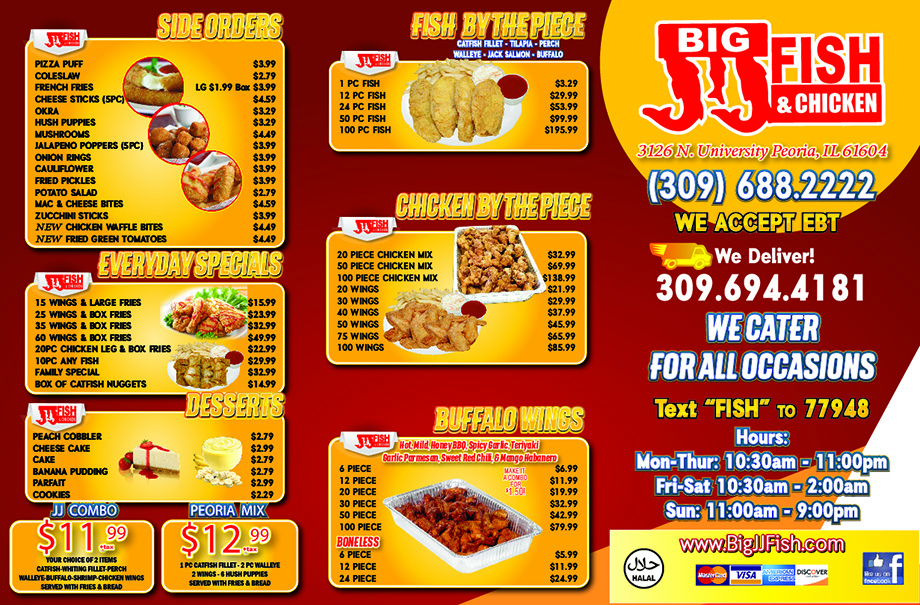 Menu big jj fish chicken for Big fish menu