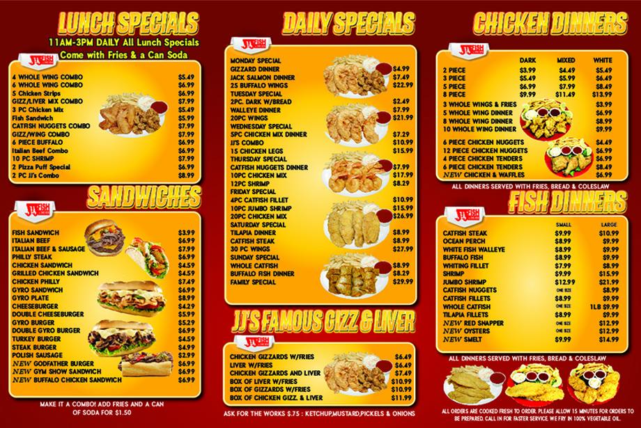 Menu big jj fish chicken for Fish and chicken menu