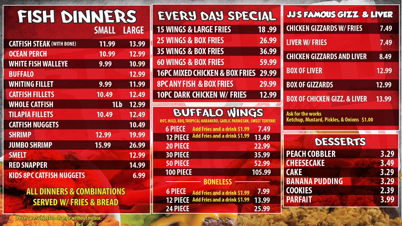 JJ Fish & Chicken Menu